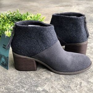NWT TOMS Lacy Suede Felt Bootie in Forged Iron